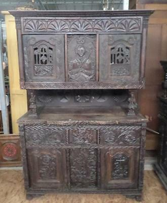 Religious French Breton Antique buffet double-corps 1700s