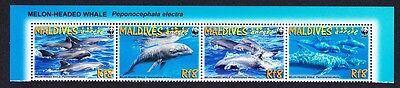 Maldives WWF Melon-headed Whale Top Strip of 4v with Latin Name SG#4234/37