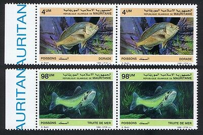 Mauritania Fish 2v issue 1986 in pairs with Left Margin SG#874+877 SC#614-15