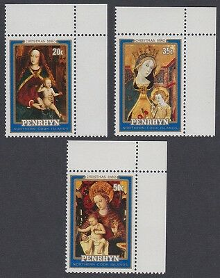 Penrhyn Paintings Christmas 3v issue 1980 Corners with margins SG#161/63