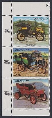 Paraguay Classic Cars Ceirano strip of 1v+2 labels SC#2082