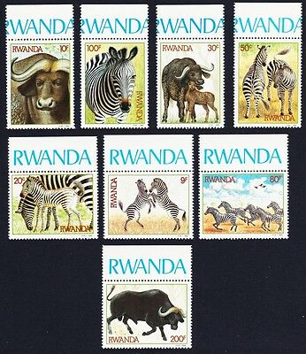 Rwanda Zebras and Buffaloes 8v with margins and inscripts SG#1210/17