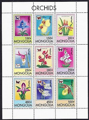 Mongolia Orchids and Butterflies Sheetlet of 9v SG#2599/07 SC#2269-77