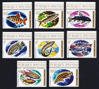 Rwanda Fishes 8v with Top margins and inscript SG#553/60 SC#541-549