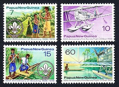 Papua NG 50th Anniversary of Survey Flight & Scouting in Papua 4v SG#309/12