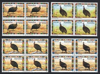 Namibia Helmeted Guineafowl Birds 4v Blocks of Four SG#744/47 SC#871-74