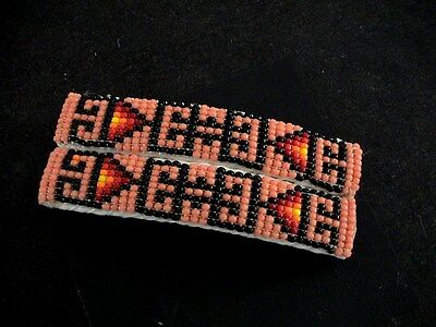 Auth.Native American Indian Glass Seed Beaded Pair Hair Barrettes