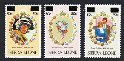 Sierra Leone Charles and Diana Royal Wedding 1st Issue 3v surch SG#695//99