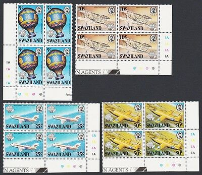 Swaziland Bicentenary of Manned Flight 4v Blocks of 4 with margins SG#431/45