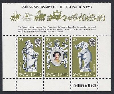 Swaziland Coronation 3v strip with label SG#293/95 SC#302a-02c