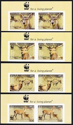 Tajikistan WWF Bactrian Deer 4v Top Imperforated Pairs WWF Logo MI#527B-30B