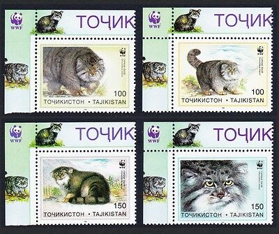 Tajikistan WWF Pallas's Cat 4v Top Left Corners with margins SG#90/93 SC#92-95