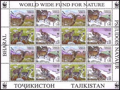 Tajikistan WWF Bharal Sheetlet of 4 sets SG#282/85 SC#266 a-d MI#392-95