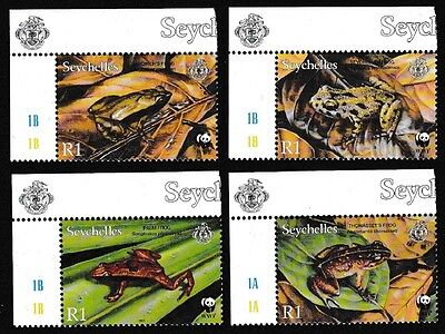 Seychelles WWF Frogs 4v Top Left Corners SG#917/20 SC#831-34 MI#867-70