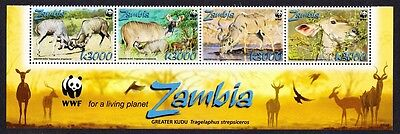 Zambia WWF Greater Kudu Strip of 4v with WWF Logo SG#1049/52 SC#1103a-d