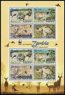 Zambia WWF Greater Kudu Sheetlet of 2 sets / 8 stamps SG#MS1054 SC#1103a-d