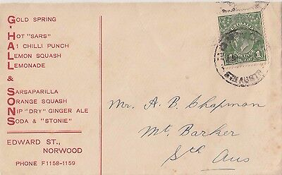 Stamp 1d green KGV on G Hall & Sons Norwood South Australia advertising cover