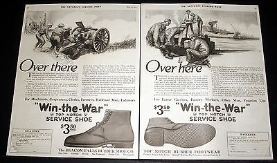 "1918 Old Magazine Print Ad, Top Notch ""win-The-War"" Shoes, Over There-Over Here!"