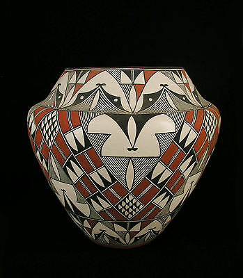 VERY LARGE ACOMA OLLA, POT, BY SHARON STEVENS, with hairline crack