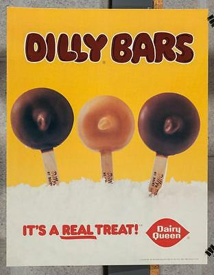 Vintage Dairy Queen Promotional Poster Dilly Bars 1980 dq2