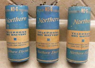 (3) Vintage Northern Electric Dry Cell Telephone, Phone Batteries