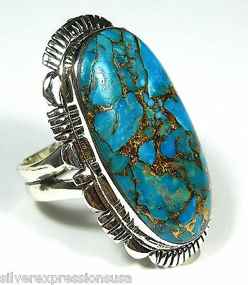 Huge Handcrafted Blue Turquoise 925 Sterling Silver Ring Size 7-11