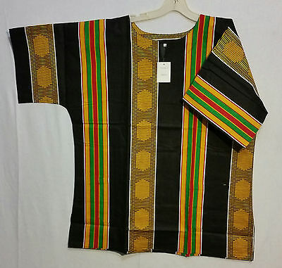Men Clothing Kente Print Dashiki Top African Ethnic Shirt Free Size Orange Red