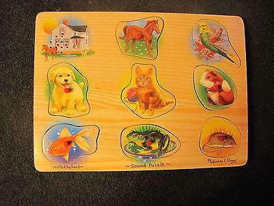 Childs Melissa & Doug wooden farm animal sound peg puzzle educational learn #342
