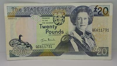 """The States Of Jersey Twenty Pounds £20 Bank Note Circulated """"qc"""" """"black"""