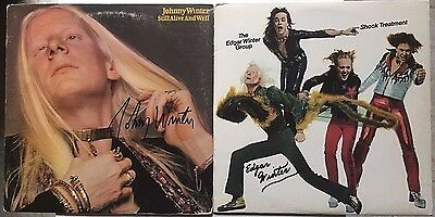 JOHNNY WINTER & EDGAR WINTER signed autograph LPs