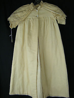 Antique 1890 Cream Wool Blended Baby Long Robe w/Embroidery Cape, AS-IS