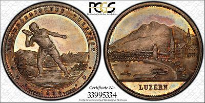 1888 Switzerland Silver Medal Lucerne Festival Pcgs Ms-65 (Swiss)