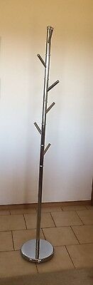 Silver tree style 6 hook hat and coat rack 1.8m ht, polished metal, solid base
