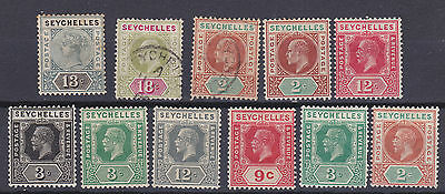 Seychelles 1890-1932  collection of 11 mint hinged and used