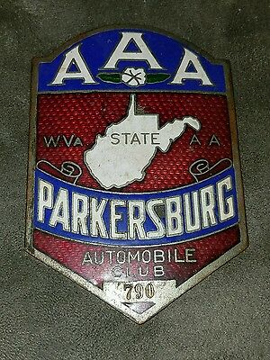 Vintage Grill Badge License Plate Topper AAA Automobile Club Parkersburg  Enamel