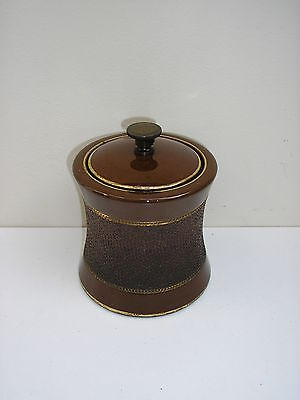 Old French Ceramic Brown And Gold Tobacco Jar  10 Cms High X 10 Cms Diam.