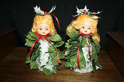 "Vintage Christmas Holly Doll Pair Measures 8 1/2"" Tall"