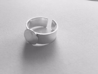 Sterling Silver Adjustable Ring Blanks 9mm Pad Round or Square Gluing Pad x 2
