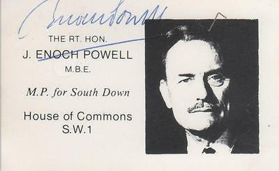 Very Rare Hand Signed Constituency Card of Enoch Powell