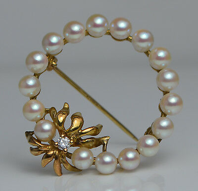 9ct Gold Cultured Pearl & Diamond Round Brooch