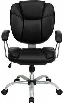 Black Leather High Back Office Chair Executive Ergonomic Computer Desk Task NEW