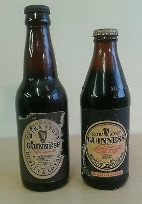 Guinness Bottle x 2, Full, Labelled, With Cap, James Shipstone & Sons, Courage