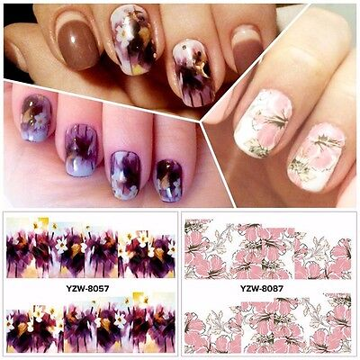 Nail Art Water Decals Stickers Wraps Deep Purple Pink Lace Flowers Gel Polish