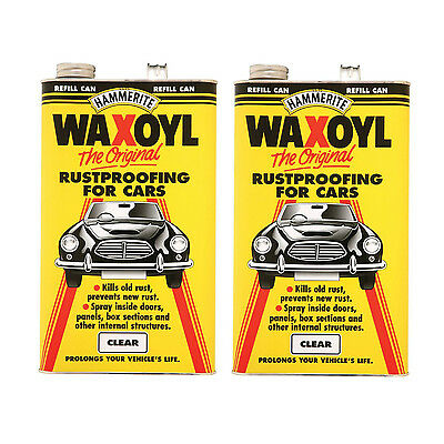 Hammerite 5092941 Waxoyl Clear Refill Paint Can 5 Litre 2 Tins