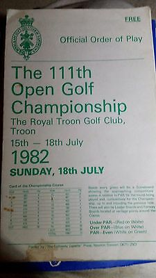 1982 OPEN GOLF ORDER OF PLAY CARD - Royal Troon, final round, 18th July