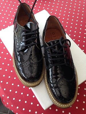 "'Office"" black patent leather ladies shoes/brogues 37 UK 4 BNIB Cost £65"