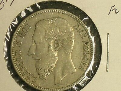 1867 Belgium 2 Francs Nice Condition                D1