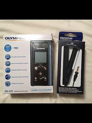 Olympus DM-670 Digital Voice Recorder (With Zoom Microphone + Leather Case )