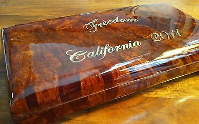"Walnut Burl Solid Wood ""Freedom California 2011"" lacquer Jewelry Trinket Box"