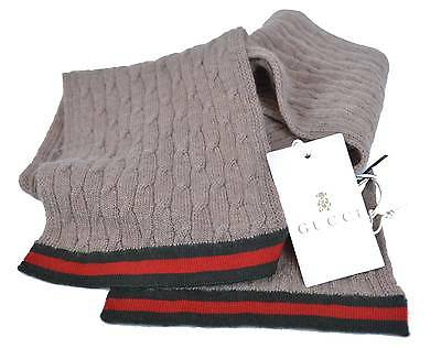 New Gucci Children's 269536 100% Cashmere Knit Taupe Red Black Scarf Muffler